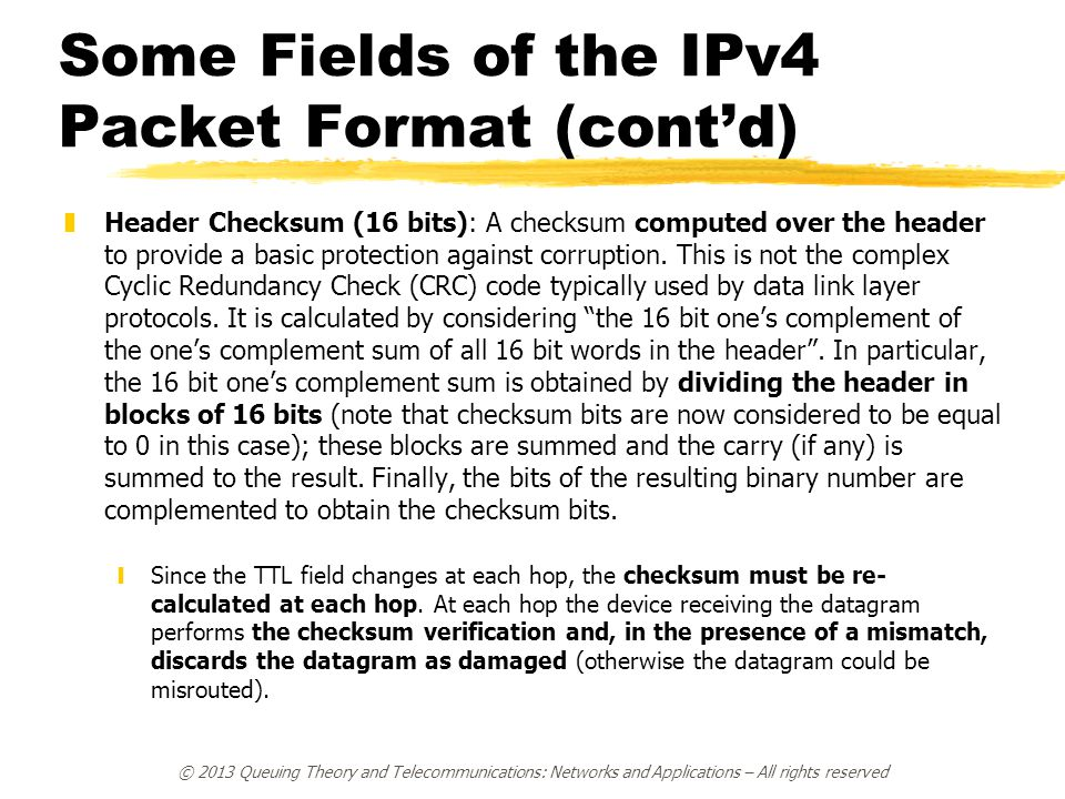 Some Fields of the IPv4 Packet Format (cont'd)