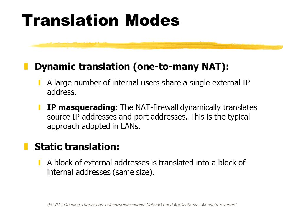 Translation Modes Dynamic translation (one-to-many NAT):