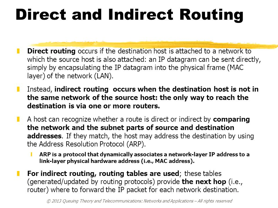 Direct and Indirect Routing