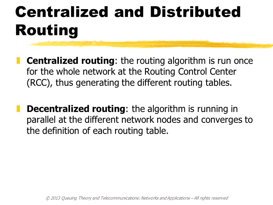 Centralized and Distributed Routing
