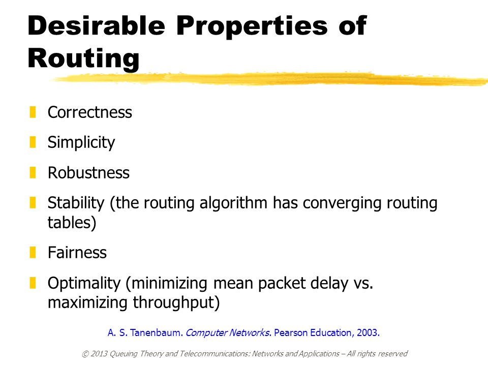 Desirable Properties of Routing