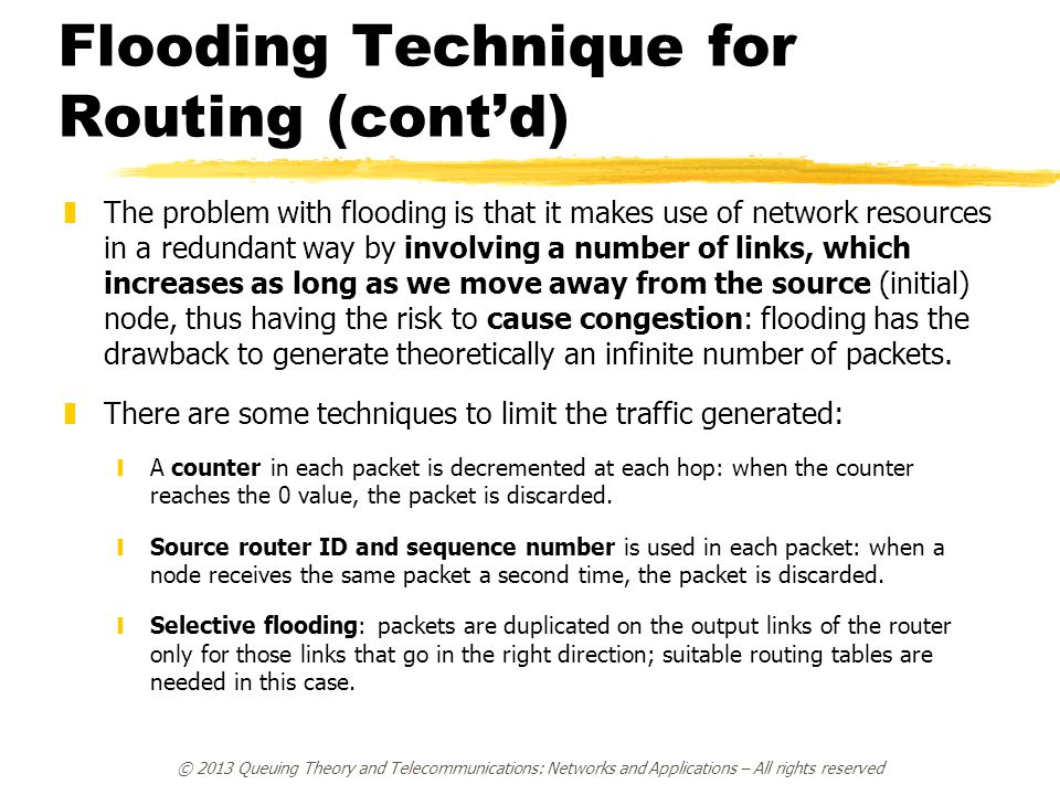 Flooding Technique for Routing (cont'd)