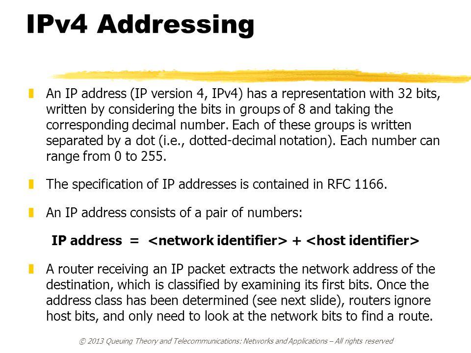 IP address = <network identifier> + <host identifier>