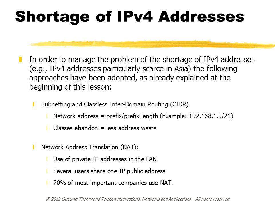 Shortage of IPv4 Addresses