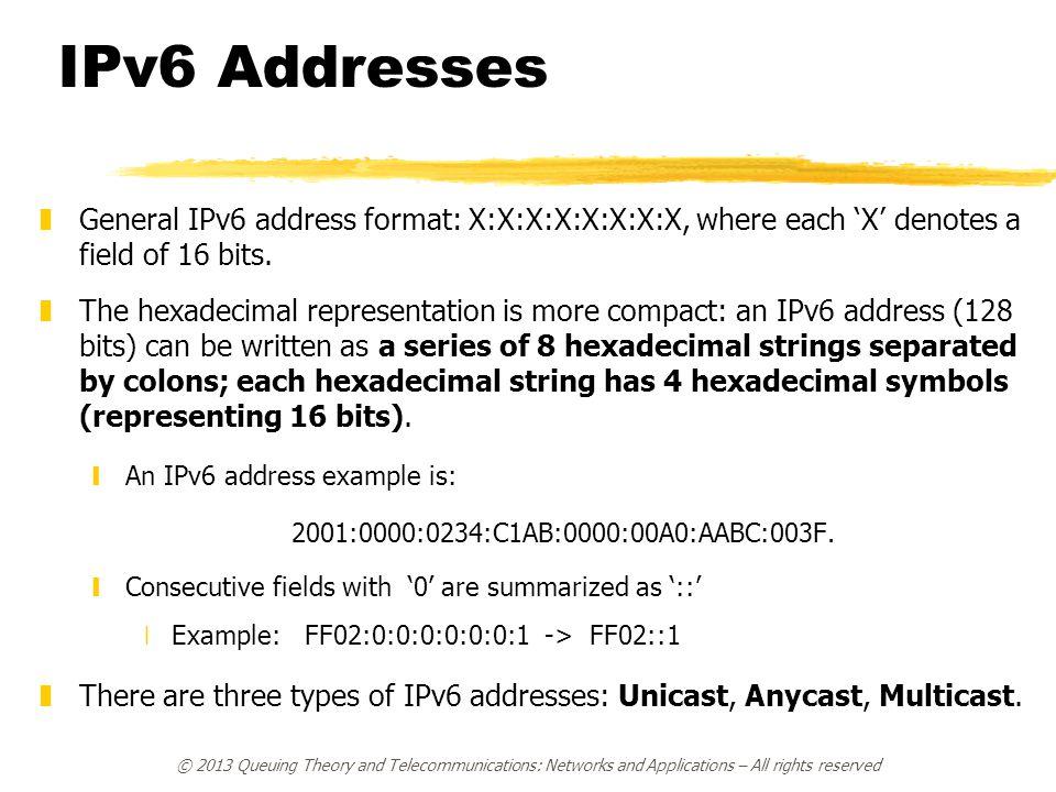 IPv6 Addresses General IPv6 address format: X:X:X:X:X:X:X:X, where each 'X' denotes a field of 16 bits.