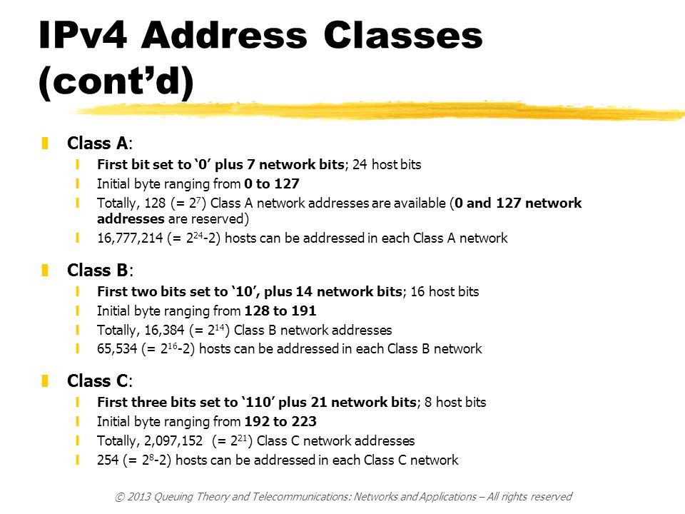 IPv4 Address Classes (cont'd)