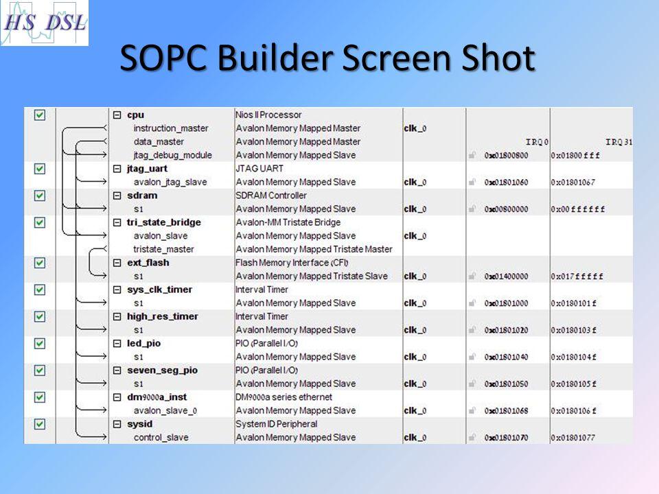 SOPC Builder Screen Shot