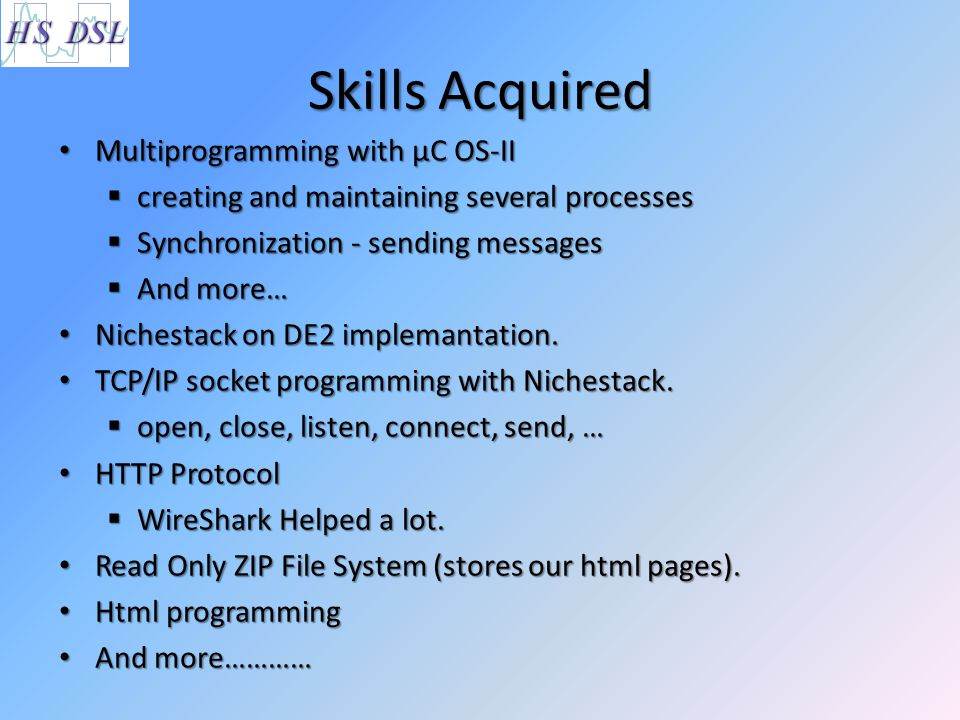Skills Acquired Multiprogramming with µC OS-II