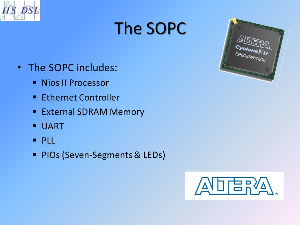 The SOPC The SOPC includes: Nios II Processor Ethernet Controller