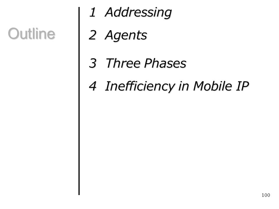 Outline 1 Addressing 2 Agents 3 Three Phases