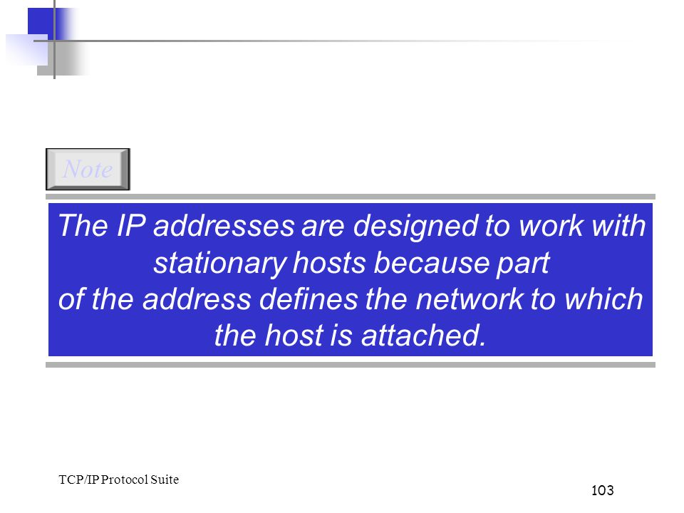Note The IP addresses are designed to work with stationary hosts because part of the address defines the network to which the host is attached.