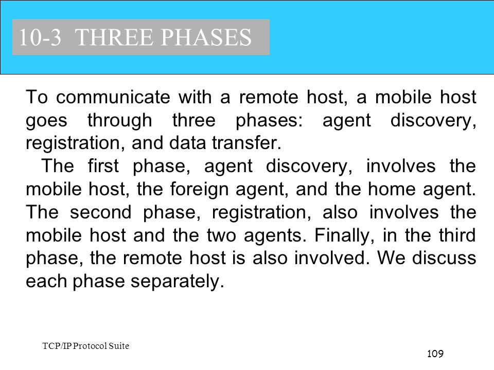 10-3 THREE PHASES To communicate with a remote host, a mobile host goes through three phases: agent discovery, registration, and data transfer.