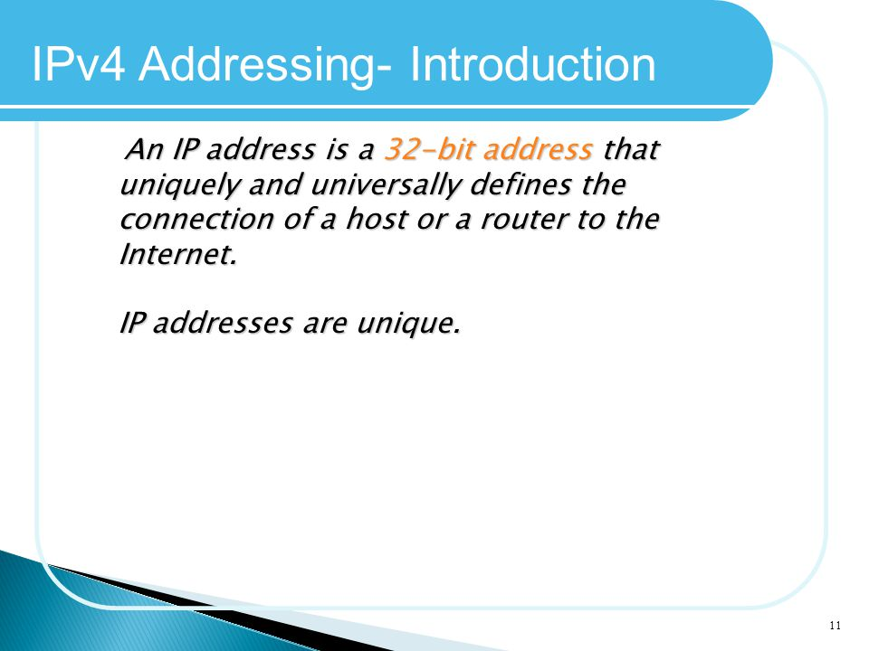IPv4 Addressing- Introduction
