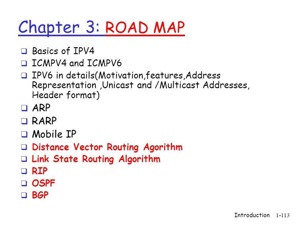 Chapter 3: ROAD MAP ARP RARP Mobile IP Basics of IPV4