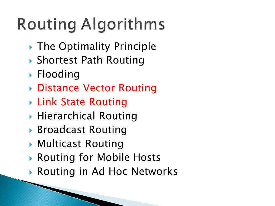 Routing Algorithms The Optimality Principle Shortest Path Routing