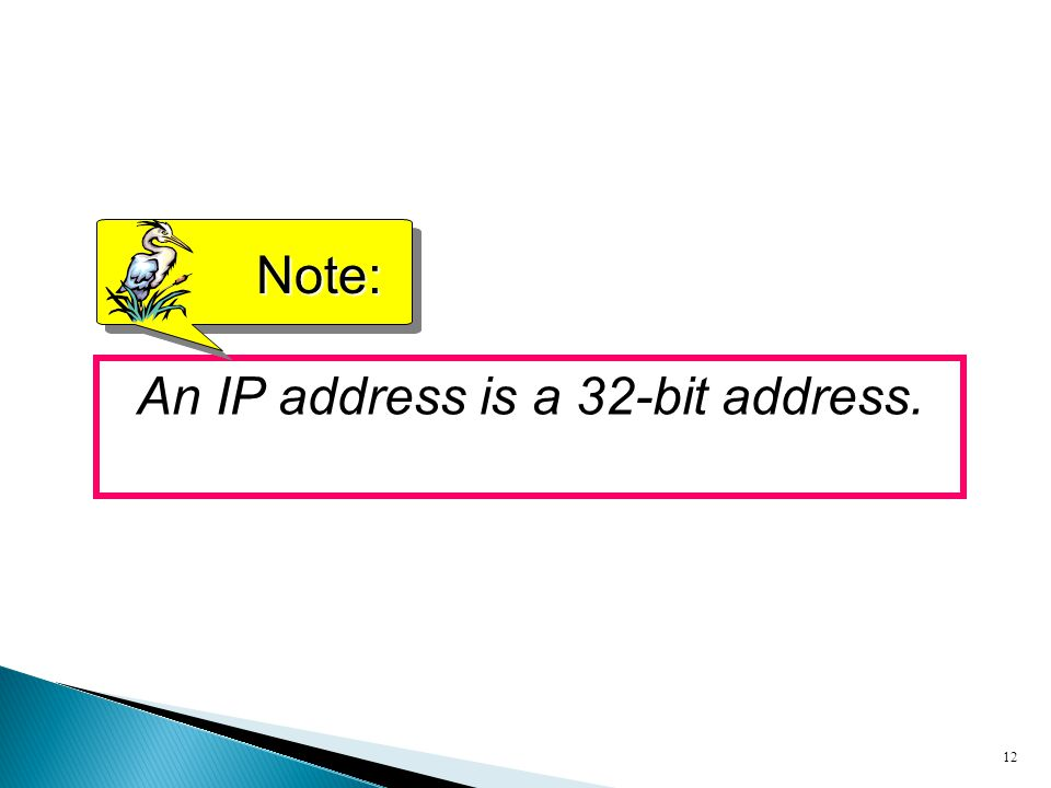 An IP address is a 32-bit address.