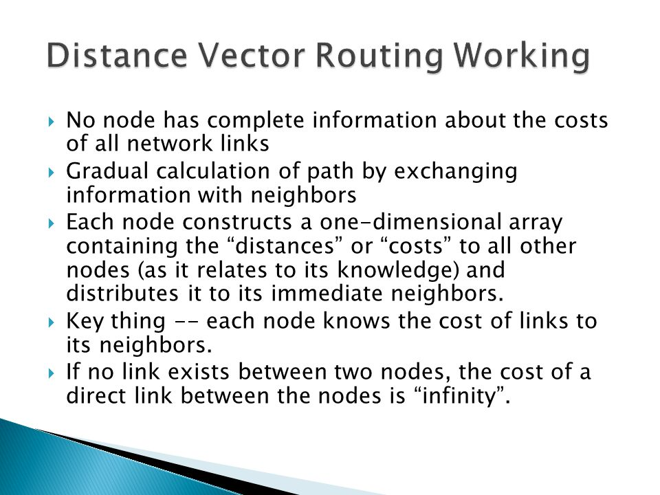 Distance Vector Routing Working