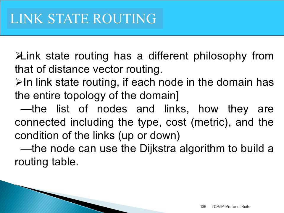 LINK STATE ROUTING Link state routing has a different philosophy from that of distance vector routing.