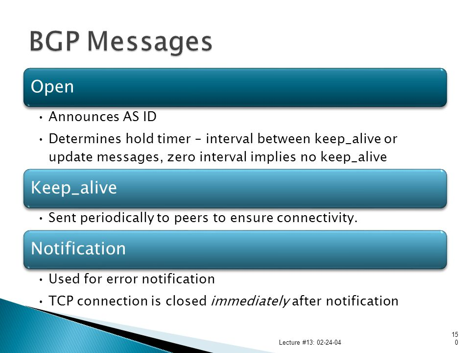 BGP Messages Lecture #13: 02-24-04 Open Announces AS ID
