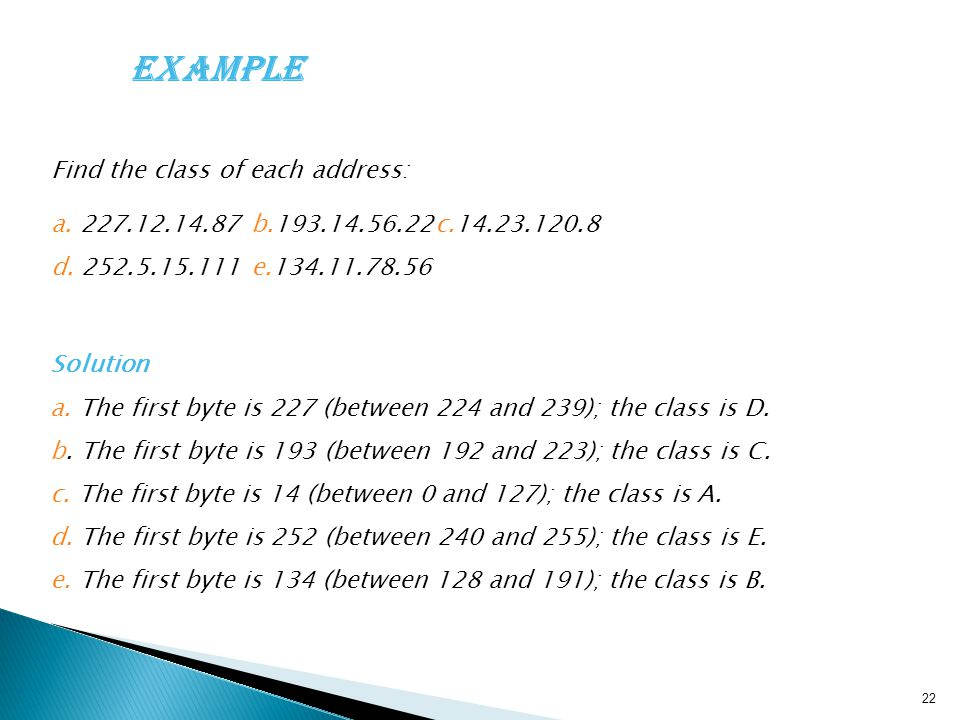 Example Find the class of each address: