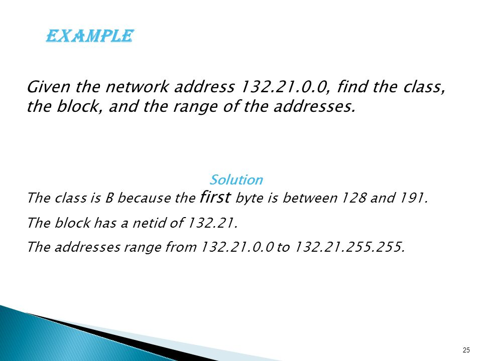 Example Given the network address 132.21.0.0, find the class, the block, and the range of the addresses.