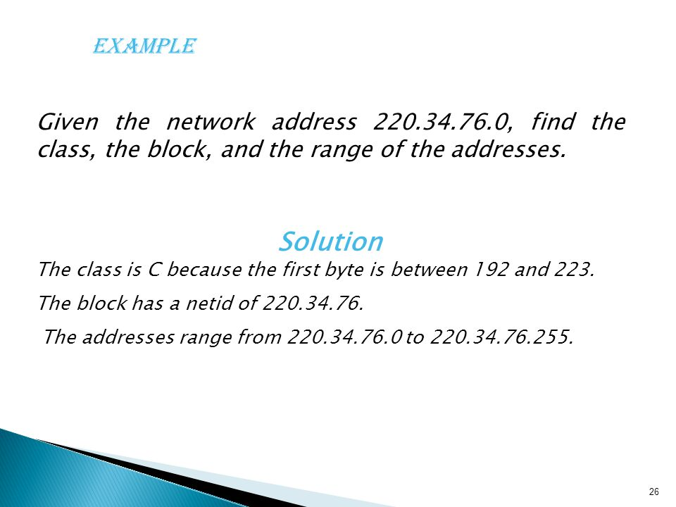 Solution The class is C because the first byte is between 192 and 223.