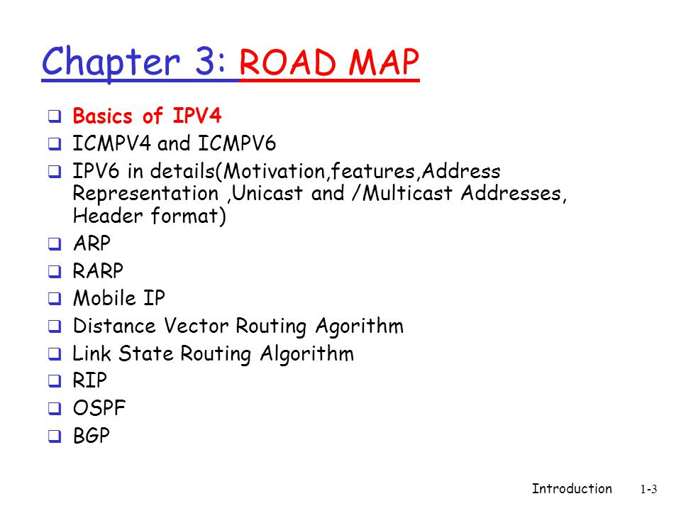Chapter 3: ROAD MAP Basics of IPV4 ICMPV4 and ICMPV6