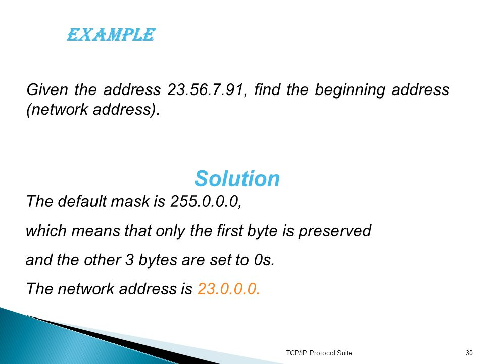 Solution The default mask is 255.0.0.0,