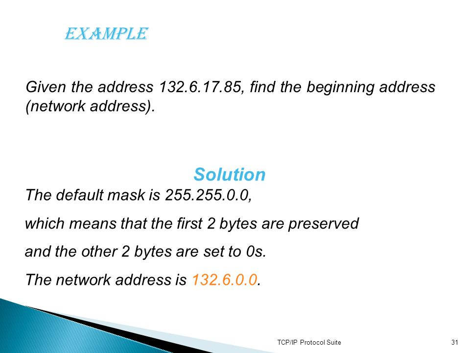 Solution The default mask is 255.255.0.0,