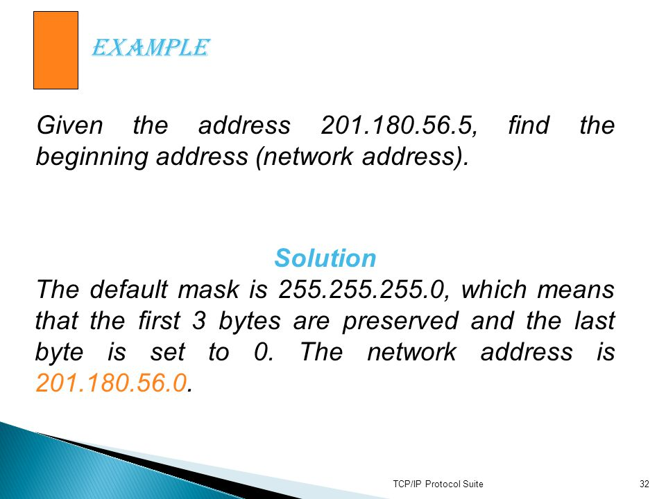 Example Given the address 201.180.56.5, find the beginning address (network address).