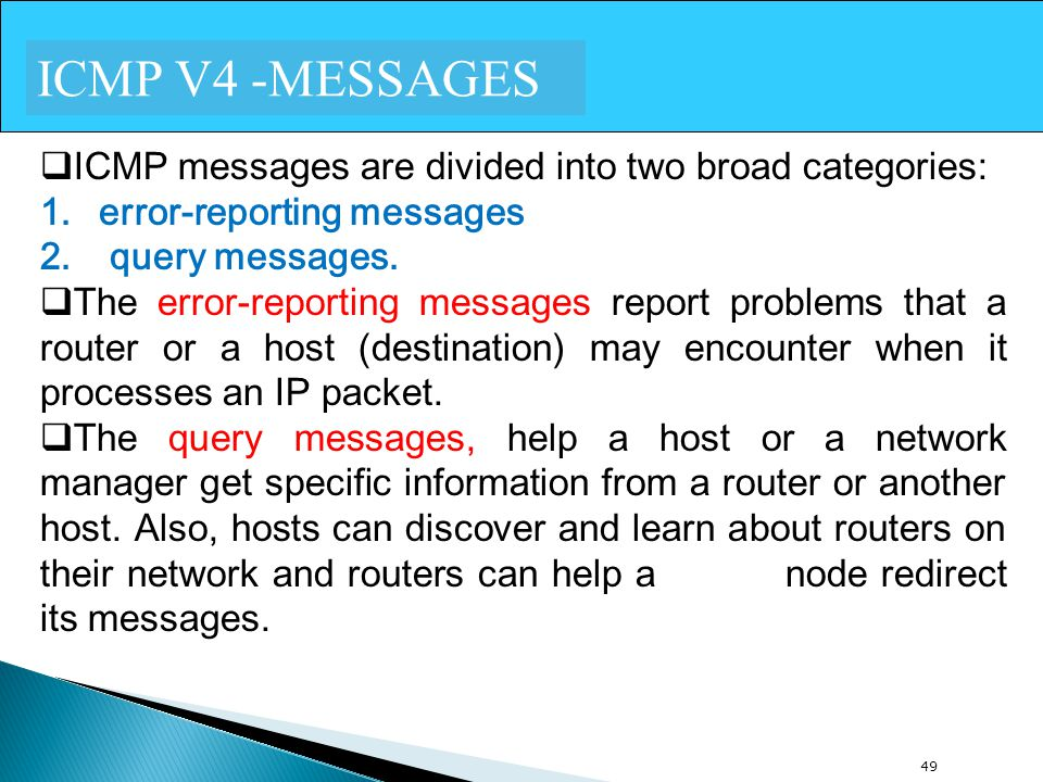 ICMP V4 -MESSAGES ICMP messages are divided into two broad categories:
