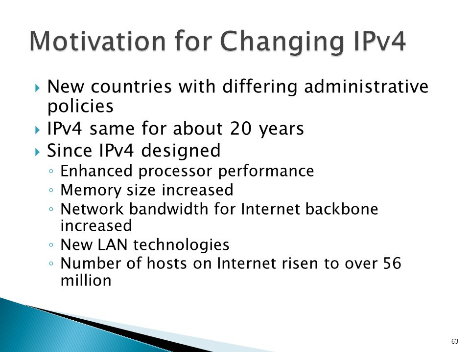 Motivation for Changing IPv4