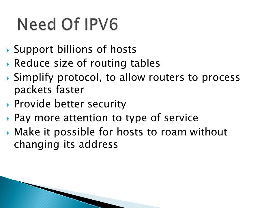 Need Of IPV6 Support billions of hosts Reduce size of routing tables