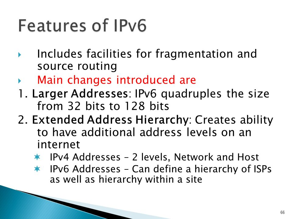 Features of IPv6 Includes facilities for fragmentation and source routing. Main changes introduced are.