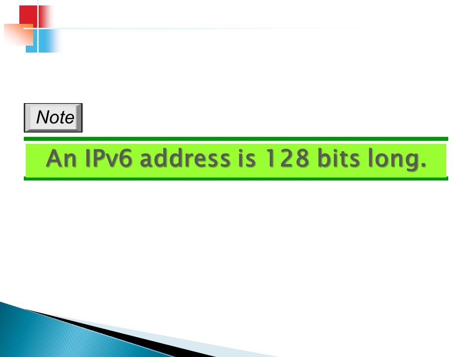 An IPv6 address is 128 bits long.