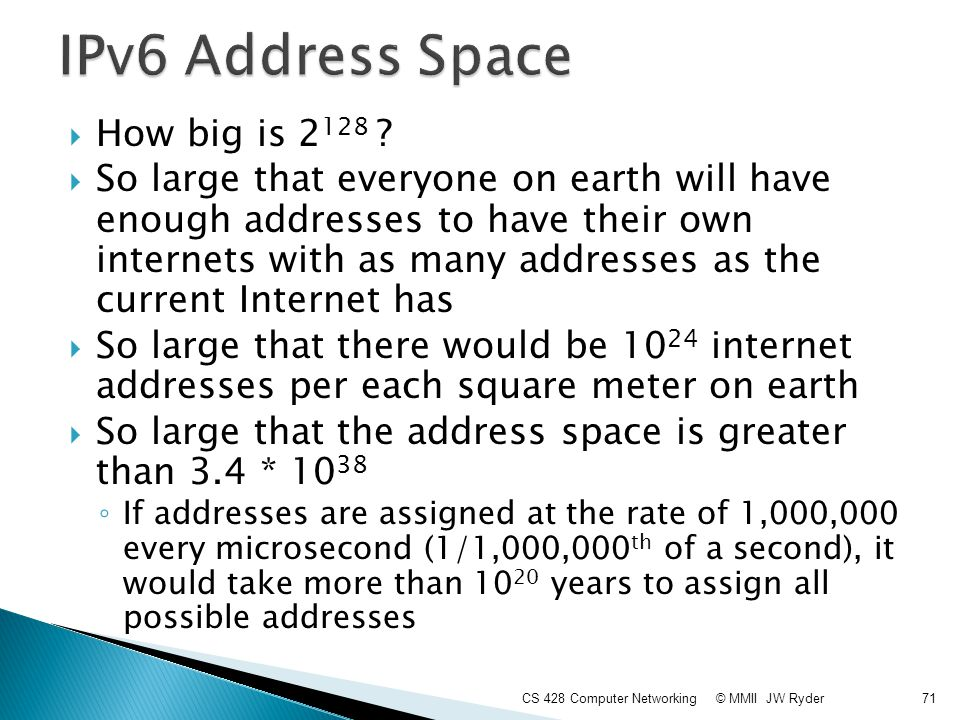 IPv6 Address Space How big is 2128