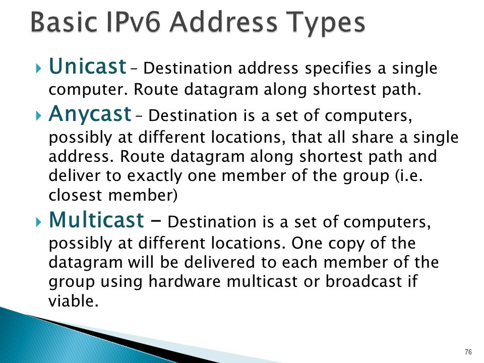 Basic IPv6 Address Types