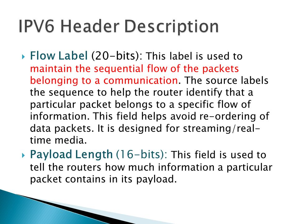 IPV6 Header Description
