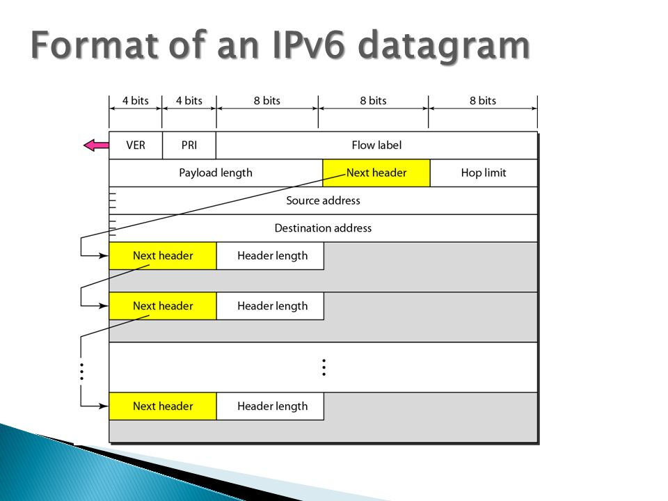 Format of an IPv6 datagram
