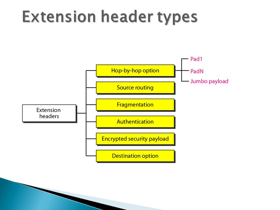 Extension header types