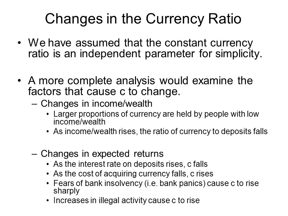 Changes in the Currency Ratio