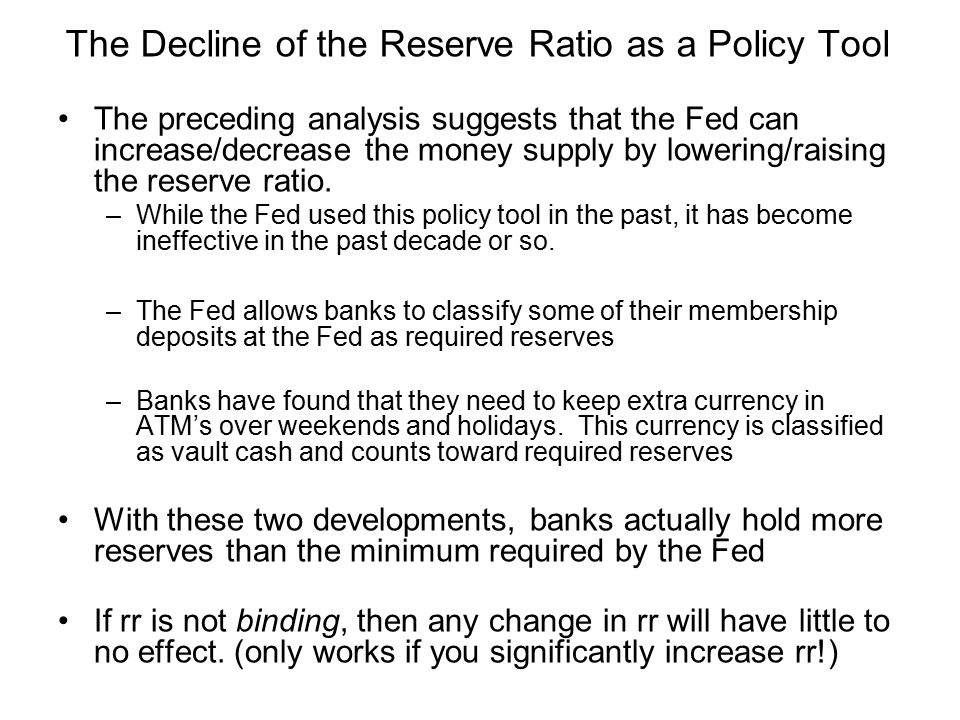 The Decline of the Reserve Ratio as a Policy Tool