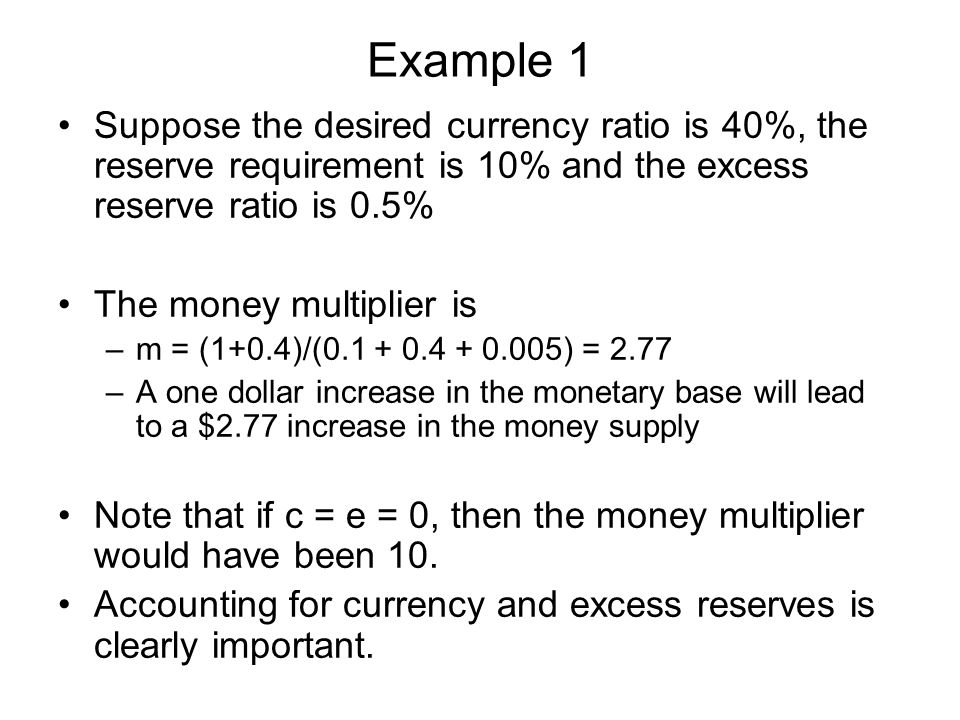 Example 1 Suppose the desired currency ratio is 40%, the reserve requirement is 10% and the excess reserve ratio is 0.5%