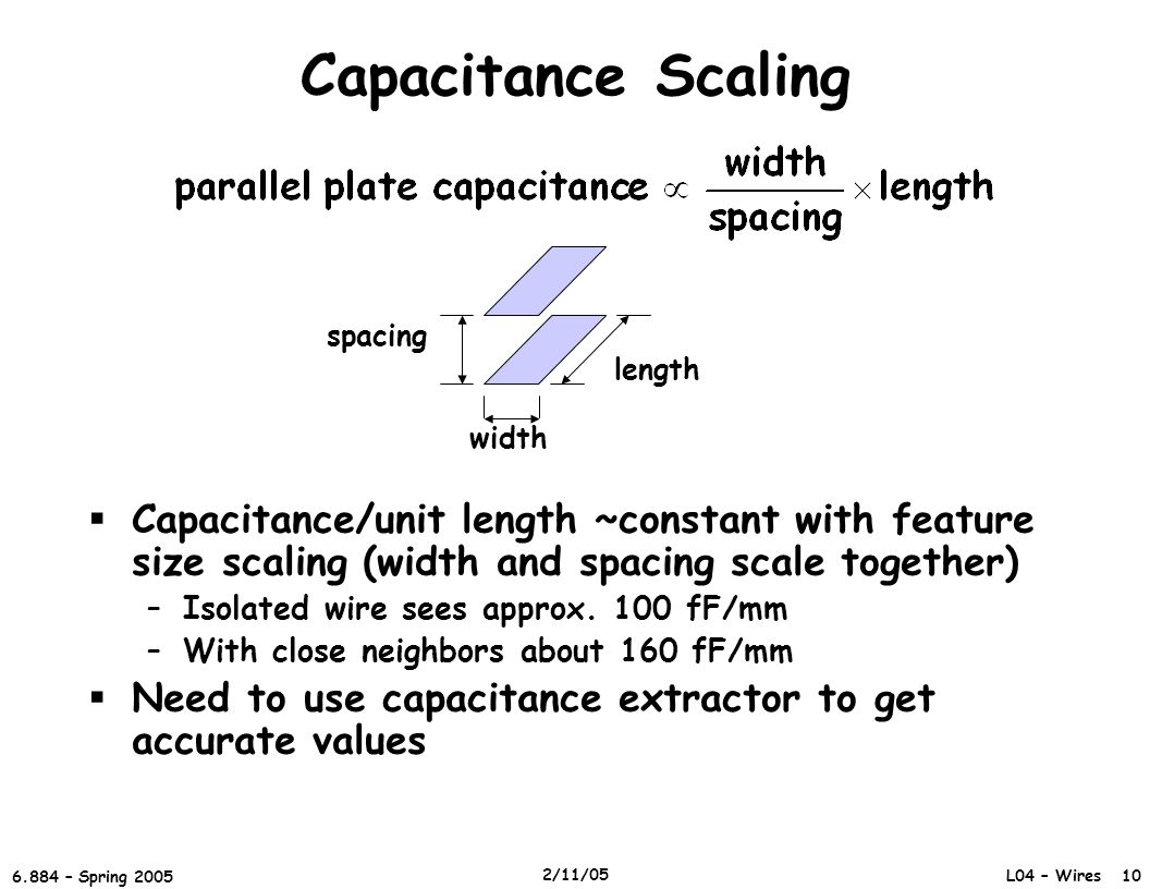 Capacitance Scaling length. spacing. width. Capacitance/unit length ~constant with feature size scaling (width and spacing scale together)