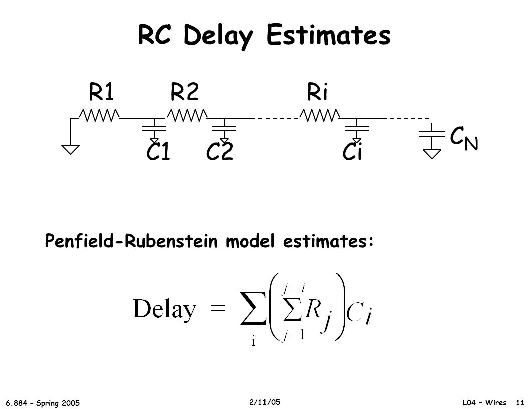 RC Delay Estimates CN R2 C1 C2 R1 Ri Ci