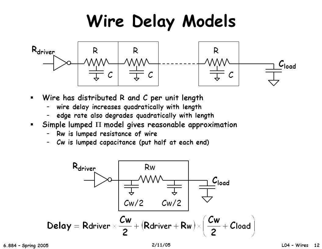 Wire Delay Models R C R C R C Rdriver Cload Cload Rw Cw/2 Rdriver