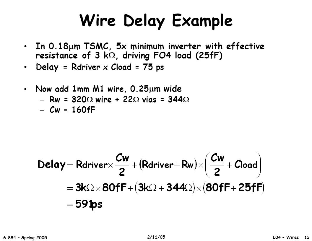 Wire Delay Example In 0.18mm TSMC, 5x minimum inverter with effective resistance of 3 k, driving FO4 load (25fF)
