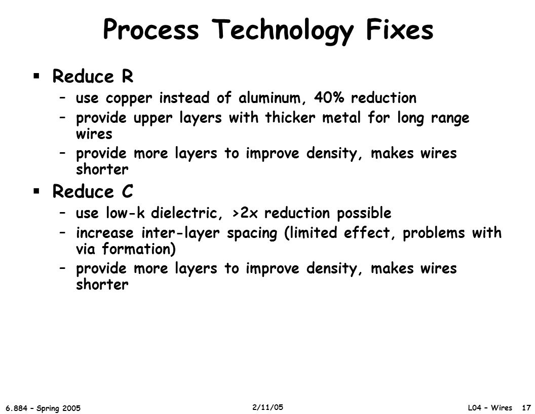Process Technology Fixes