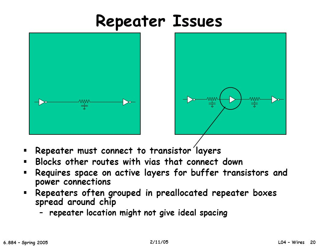 Repeater Issues Repeater must connect to transistor layers