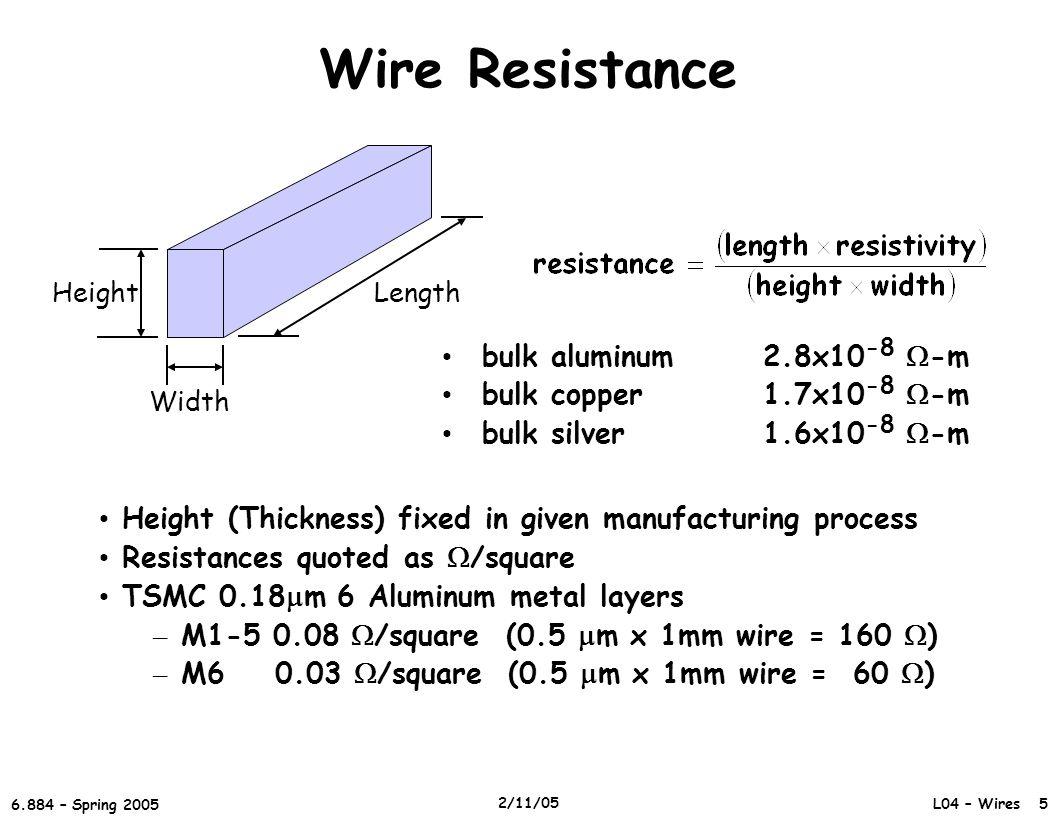 Wire Resistance bulk aluminum 2.8x10-8 -m bulk copper 1.7x10-8 -m